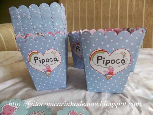 arte para impressão caixa de pipoca Peppa Pig