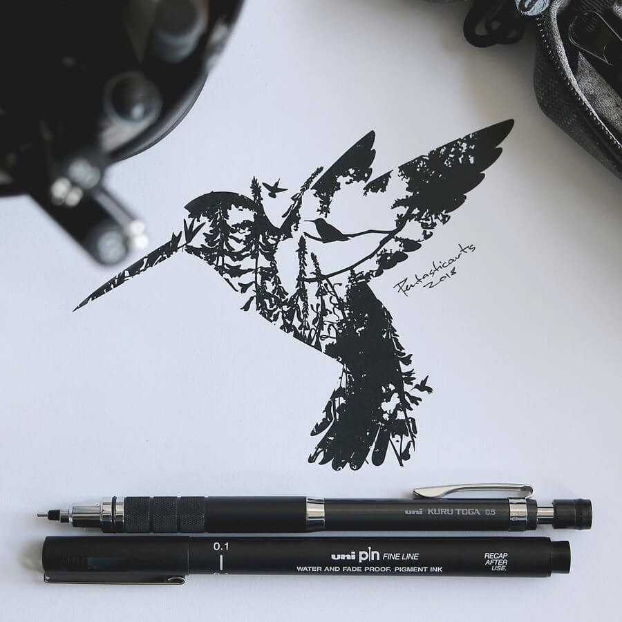 09-Humming-Bird-Double-Exposure-Joseph-Catimbang-Ink-Drawings-in-Various-Styles-www-designstack-co