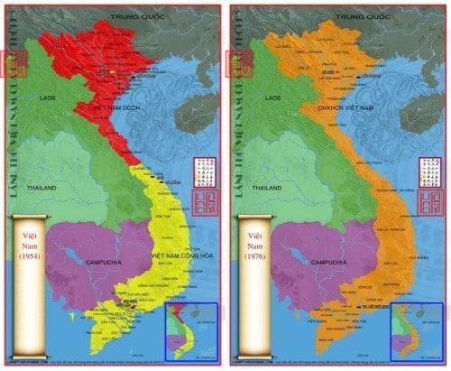 Bản đồ Việt Nam 1954 và sau năm 75