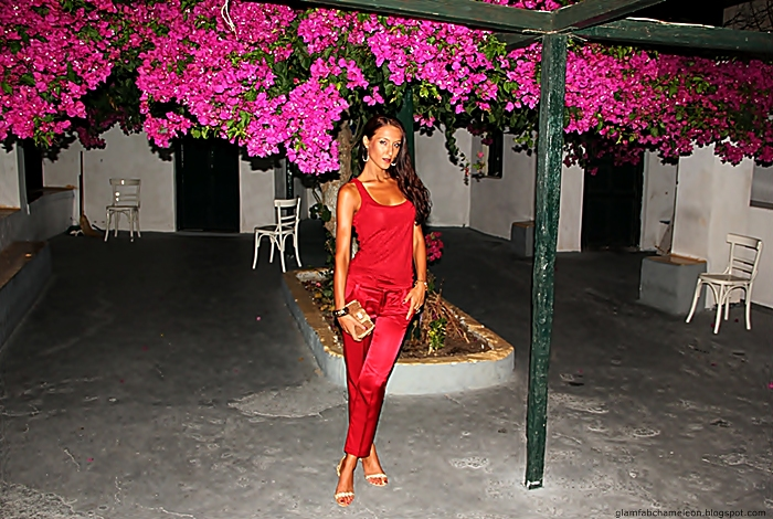 chic and elegant red satin pants outfit ideas for evening