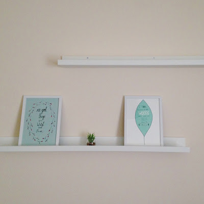 Picture shelves - blues and greens