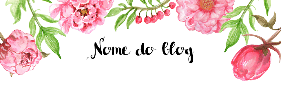 Cabeçalho com flores e nome do blog