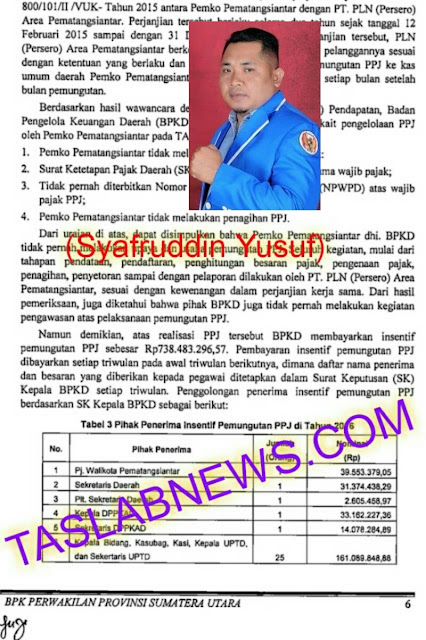 Ketua KNPI Siantar Ilal Nasution dan lembaran buku audit BPK.