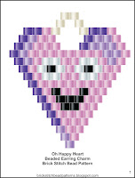 Free brick stitch Valentine's Day beaded earring pattern.