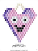 Free brick stitch Valentine's Day beaded earring pattern.