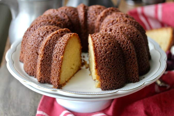 Yeasted vanilla pound cake on a plate