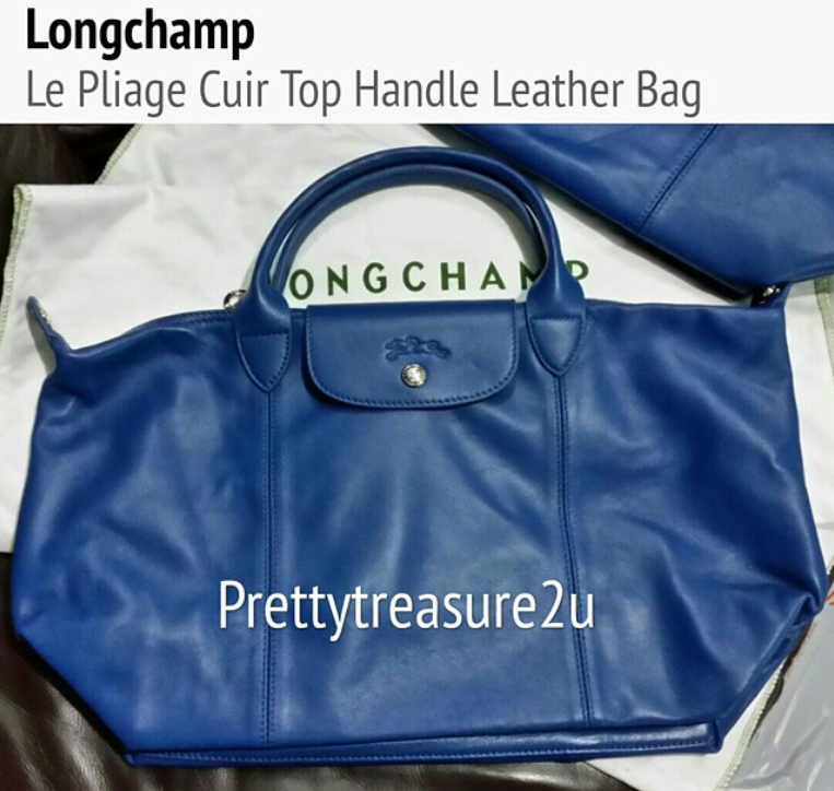 Prettytreasure2u Longchamp Le Pliage Cuir Top Handle