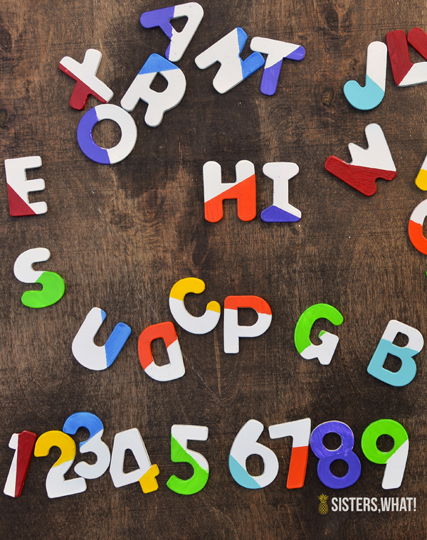 Some fun DIY Color Block Letter Magnets