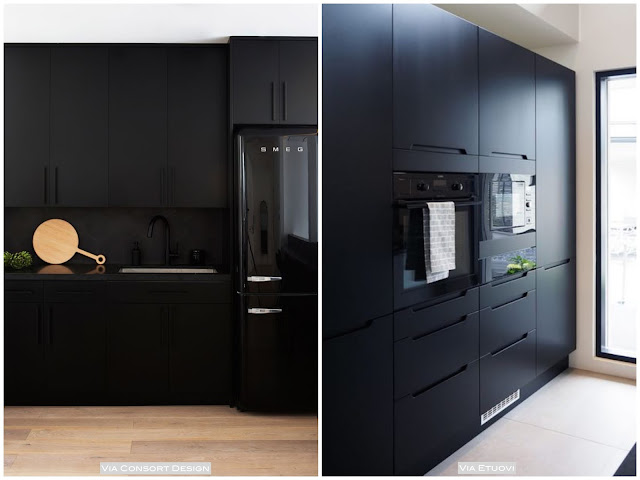 armário preto na cozinha