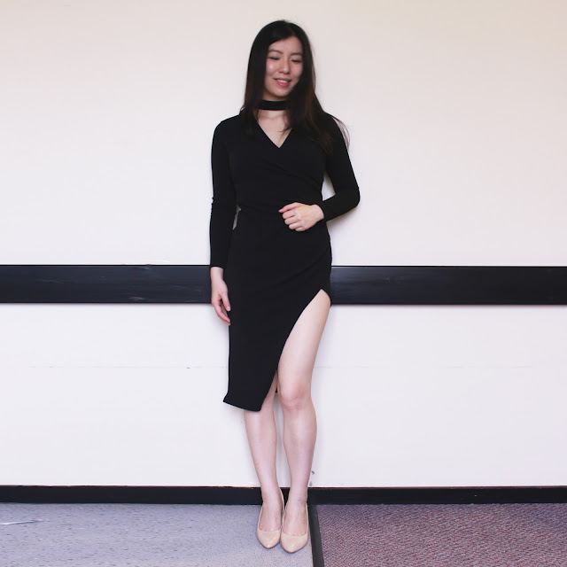 divine trends boutique, divine trends boutique review, divine trends boutique dress, black choker dress long sleeve review,