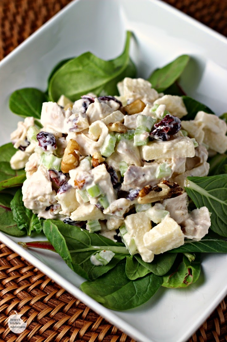 Waldorf Style Chicken Salad on plate with greens