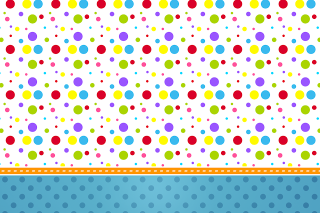 Sweet 16 Colored Dots Free Printable Invitations, Labels or Cards.