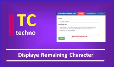 Bootstrap Display Remaining Characters