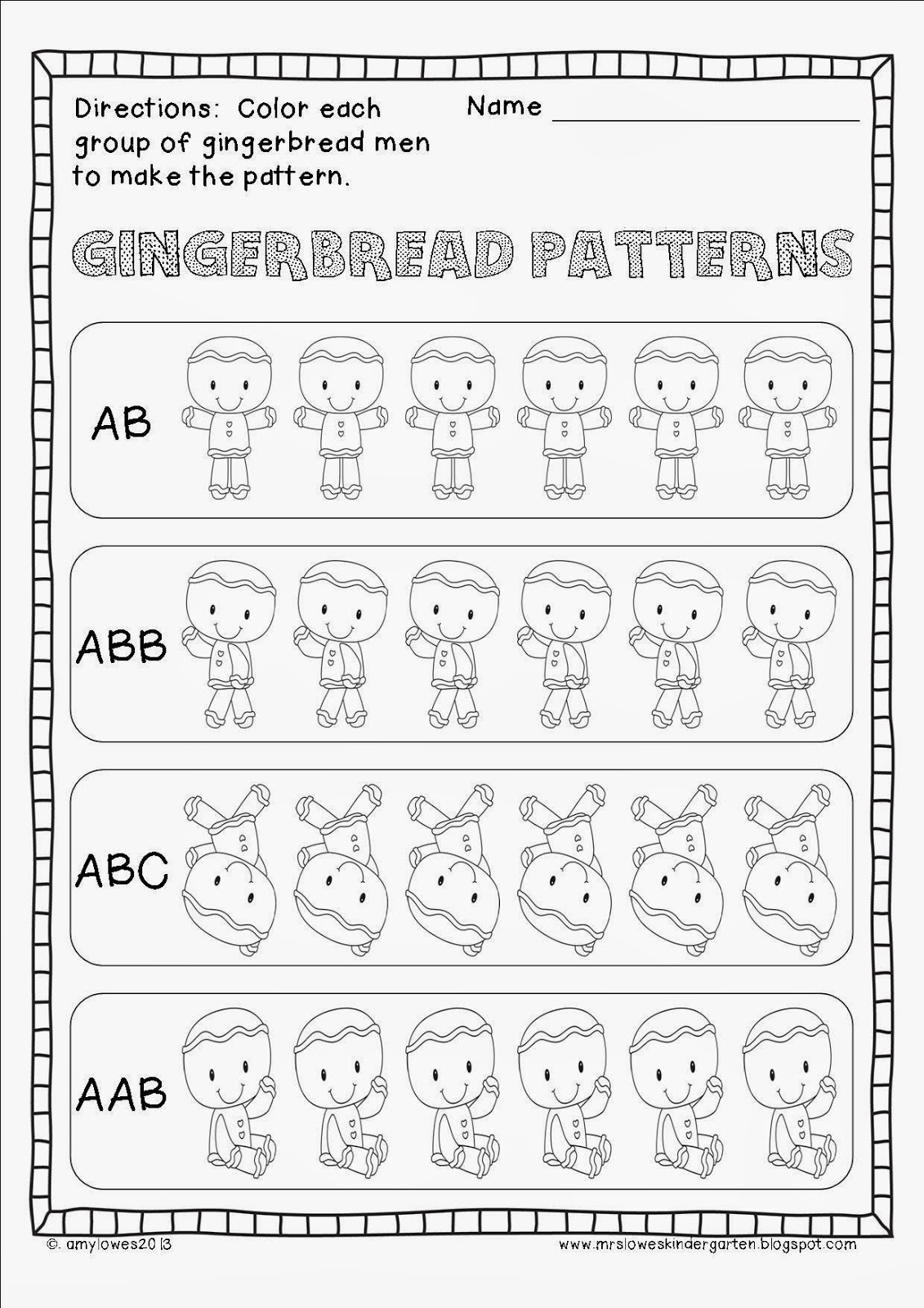 Mrs Lowes Kindergarten Korner Gingerbread Man Plans