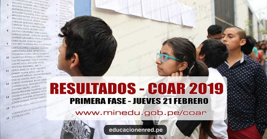 COAR 2019: Resultados Examen de Admisión Primera Fase a Colegios de Alto Rendimiento se publicará el Jueves 21 Febrero - MINEDU - www.minedu.gob.pe