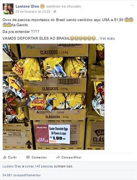 Ovos de Páscoa da Garoto vendidos a US$ 1,99 nos EUA causam revolta entre brasileiros