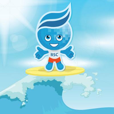 Rio Salado mascot wave surfing