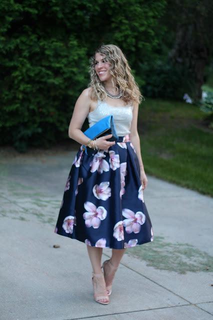 navy floral skirt, cream sequin top, Clare V. clutch, nude heels