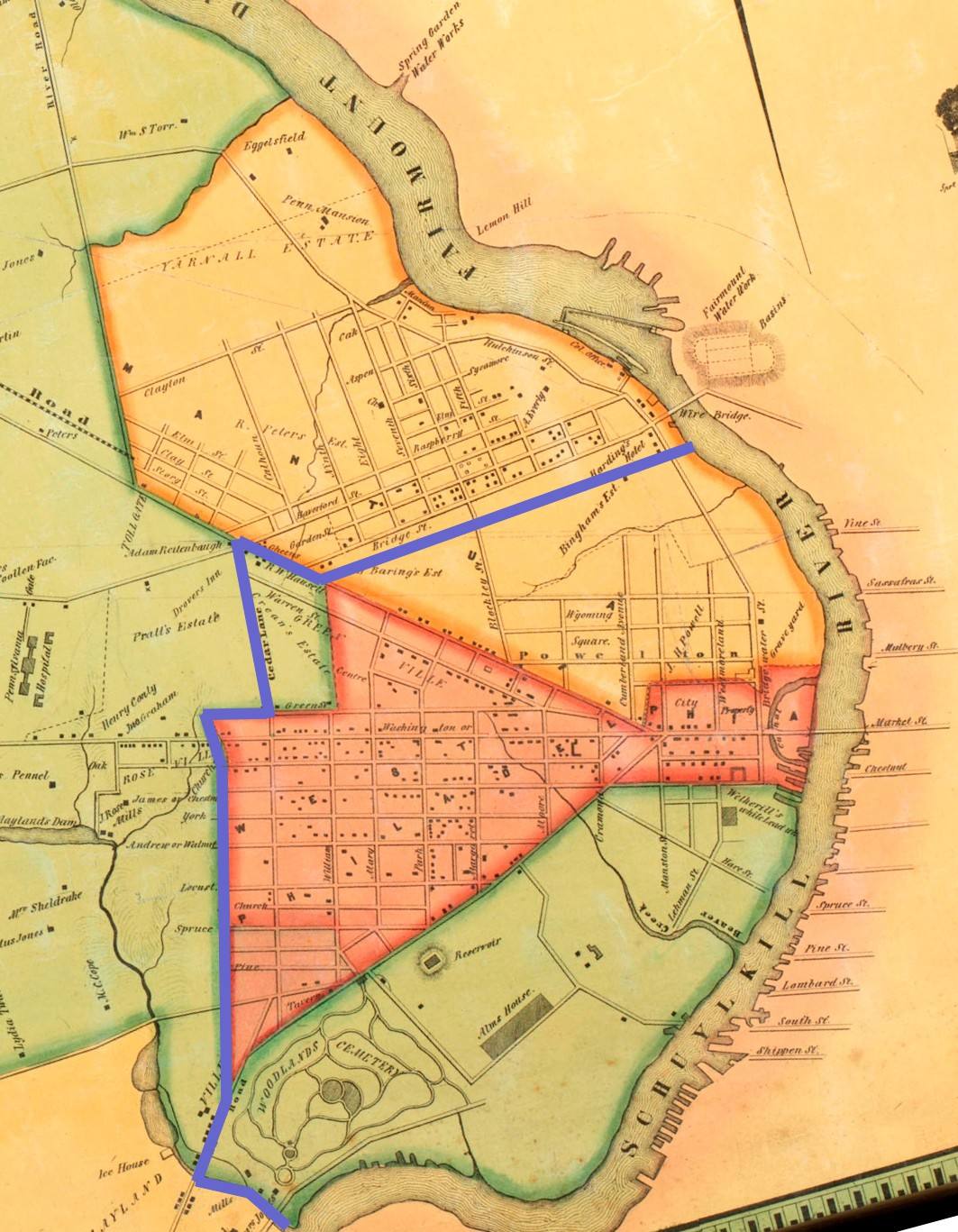 section of rea and miller 1849 map with blue line added to show the border of borough of west philadelphia in 1837