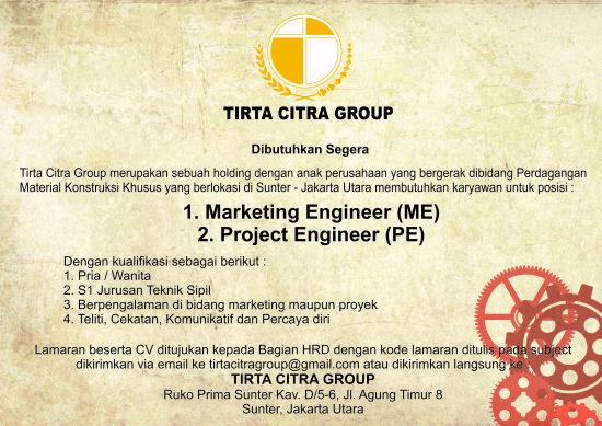Lowongan Kerja Tirta Citra Group Pendidikan Minimal S1 dan SMK