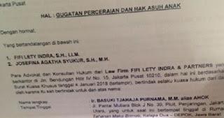 VIRAL! Surat Gugatan Cerai Ahok Terhadap Istrinya Veronica Tan, Begini Kata Kuasa Hukum Ahok