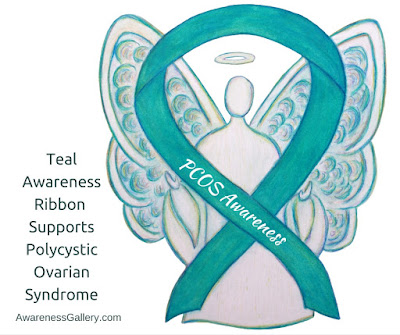 Teal Ribbon Angel Art for September is PCOS Awareness Month