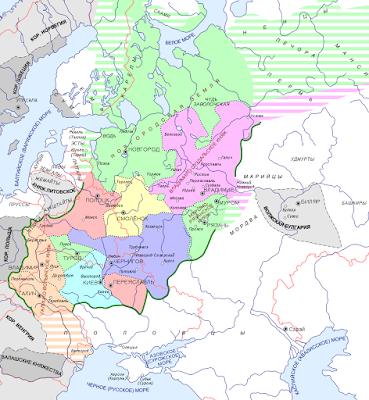 Mapo de la rusaj landoj en 1237