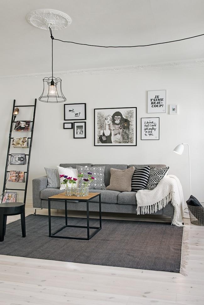 Salón escandinavo blanco y negro