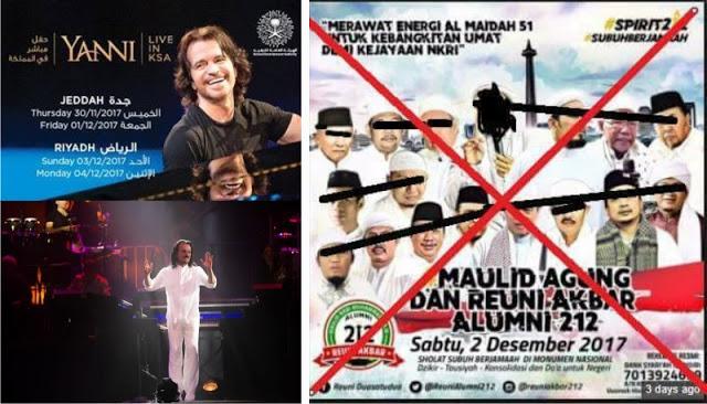 Disaat Umat Isam Bersatu, Justru ada Yang Memusuhi dan Membid'ahkan Reuni 212, Tapi Bisu Konser Musik YANNI di Makkah Saudi