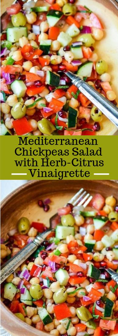 Mediterranean Chickpeas Salad with Herb-Citrus Vinaigrette #vegan