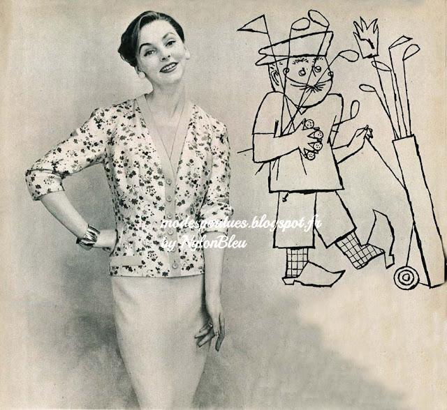 Au golf, pour jouer, une bonne tenue sportive, mais pour déjeuner au club  house cet ensemble de Patou   la robe est en toile turquoise, le cardigan  en soie ... 348a0927d84