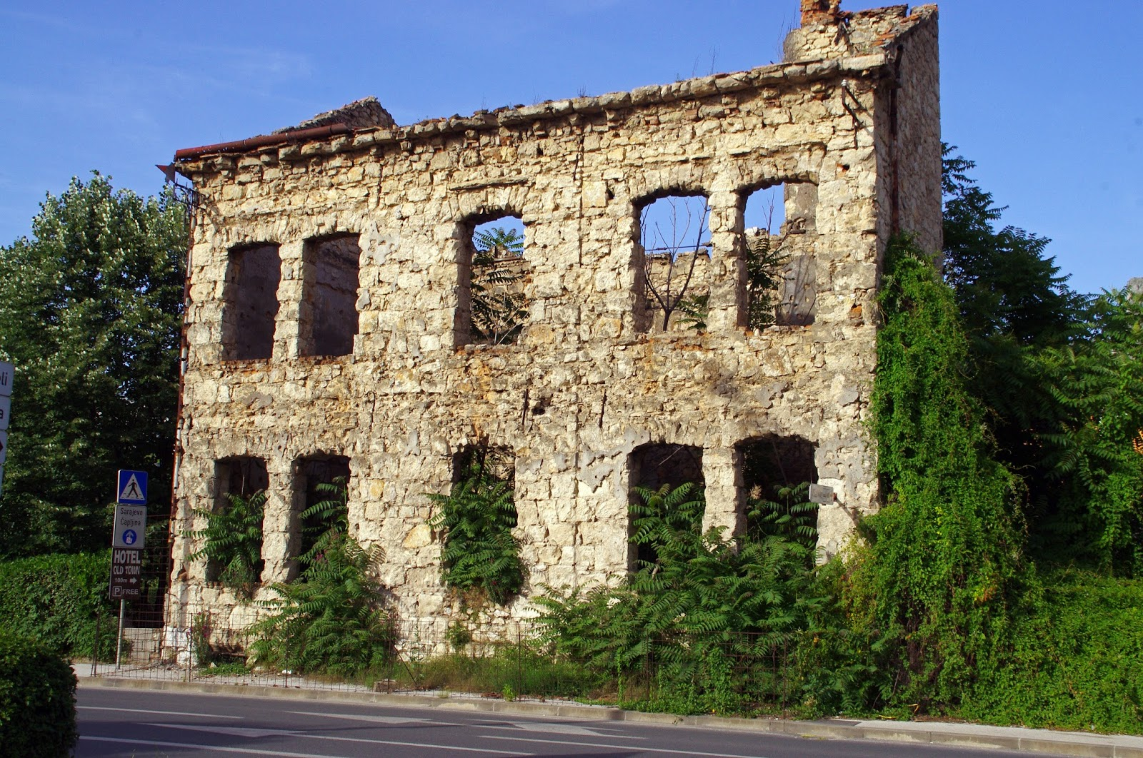 Bullet damaged buildings in Mostar