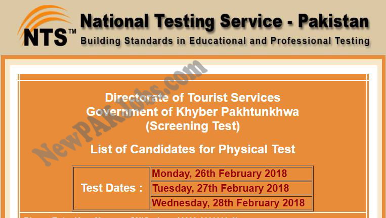 NTS Physical List, Result, of  Directorate of Tourist Services Government of Khyber Pakhtunkhwa 2018