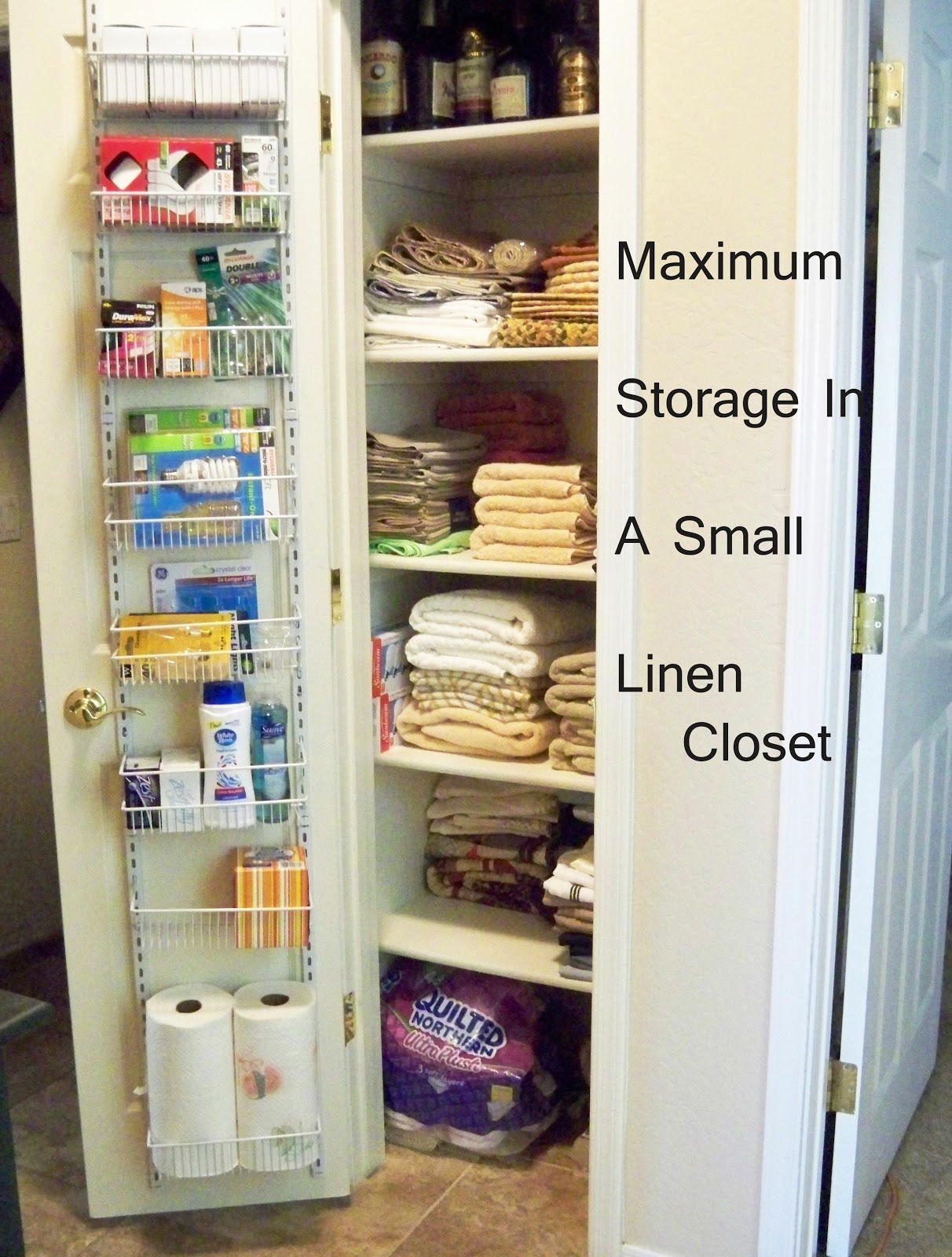 A stroll thru life maximum storage in a small linen closet for Storage solutions for small closets