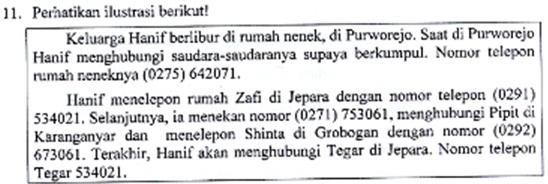 Arsip Soal dan Kunci Jawaban US Bahasa Indonesia SD Tahun 2016 Nomor 11-24 beserta Pembahasannya