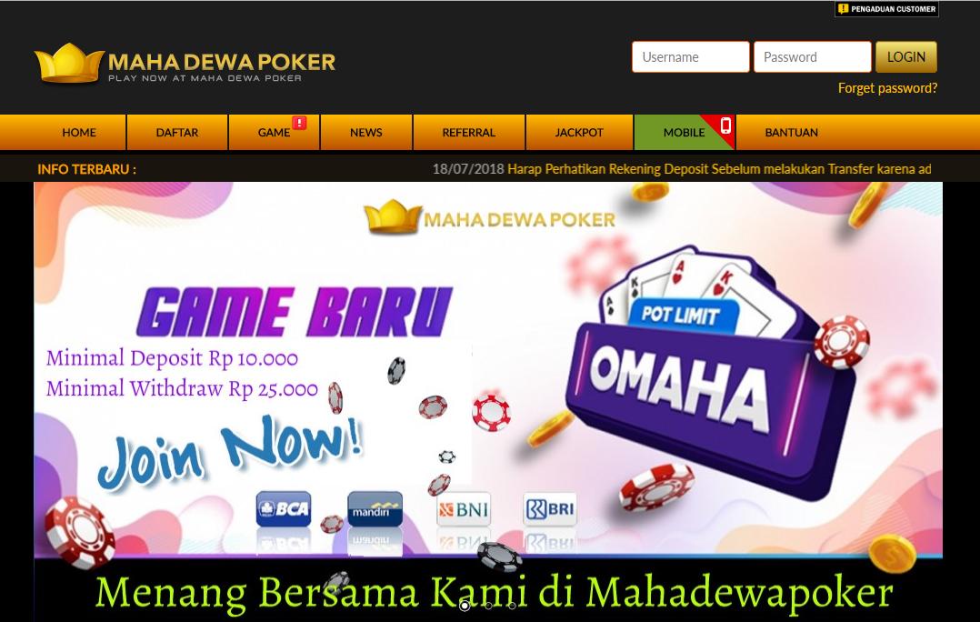 MahaDewaPoker Situs Poker Dewa Terhandal