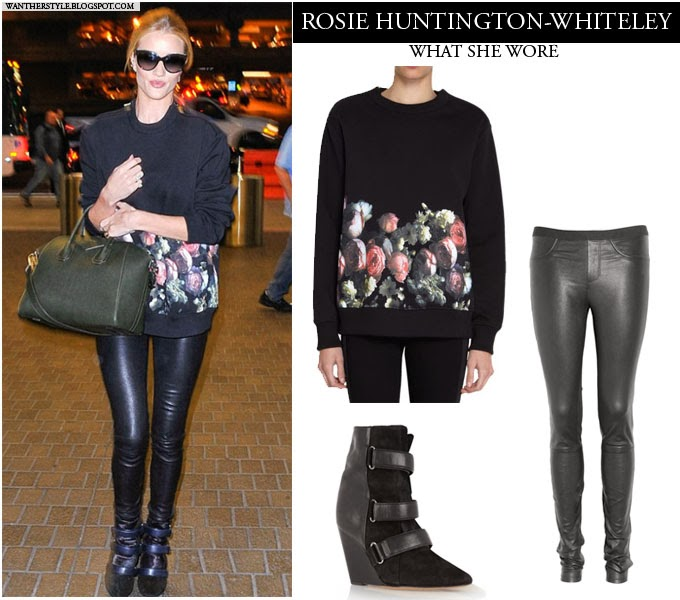 c34c16c14a9 WHAT SHE WORE  Rosie Huntington-Whiteley in black floral sweatshirt ...