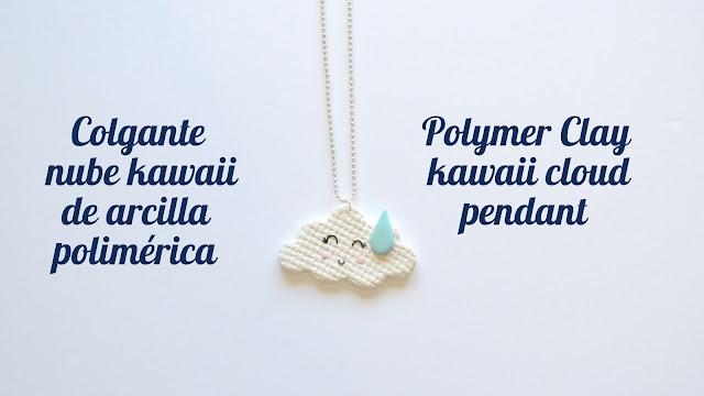 Colgante nube kawaii en arcilla polimérica