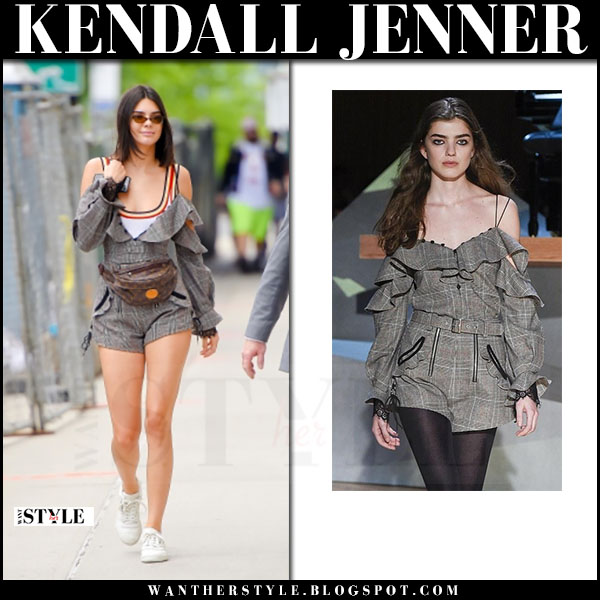 Kendall Jenner in plaid off shoulder romper self portrait and sneakers adidas yeezy powerphase what she wore june 1 2017