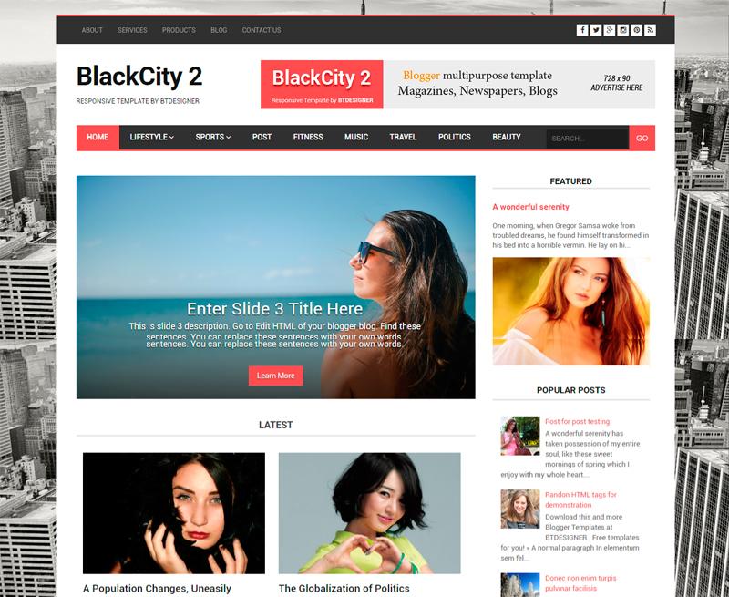 Responsive Blogger Template BTDesigner modern and simple clean magazine