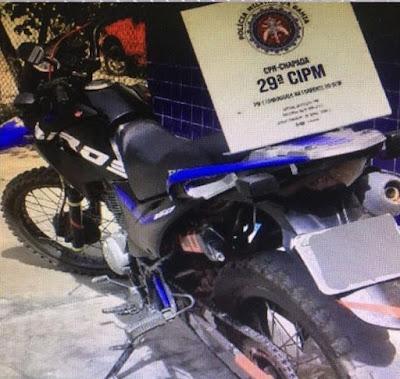 Seabra/BA Policia Militar recupera moto roubada.
