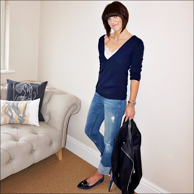 My Midlife Fashion, cosy cashmere deep v neck cashmere jumper, the white company lace trim silk camisole, charlotte olympia kitty slippers, zara distressed turn up jeans, massimo dutti leather biker jacket