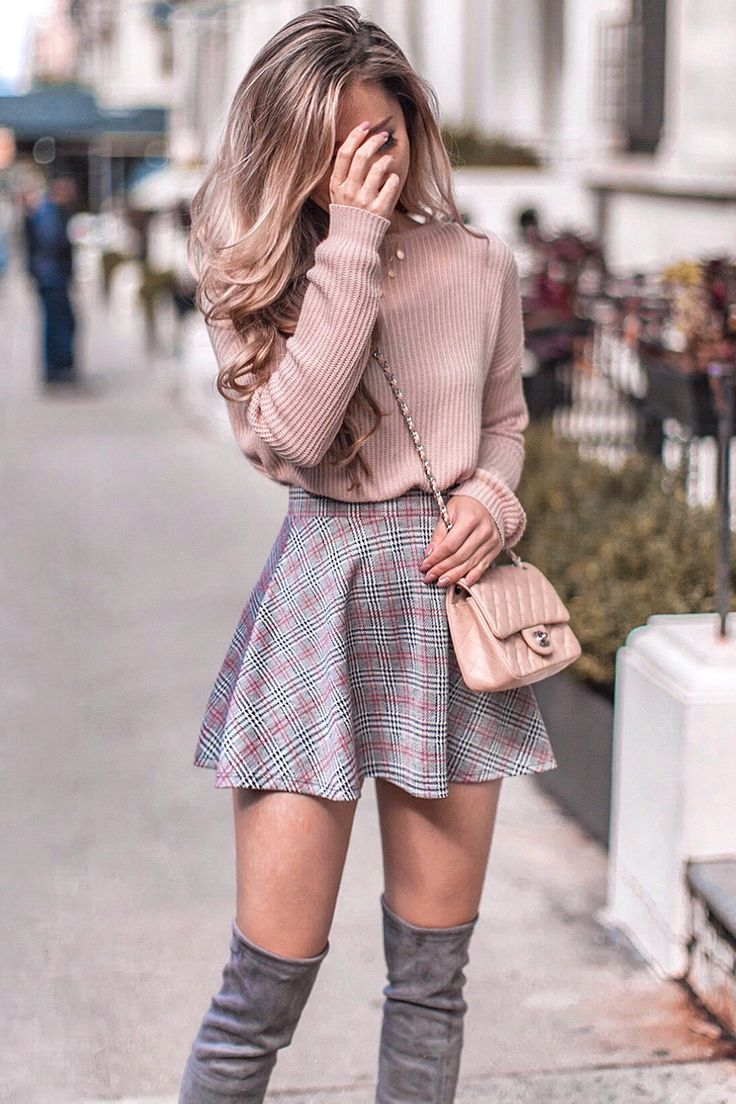 awesome winter outfit_pink sweater + plaid skirt + crossbody bag + over knee boots