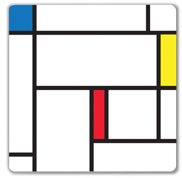 magnetic whiteboard with a Mondrian look