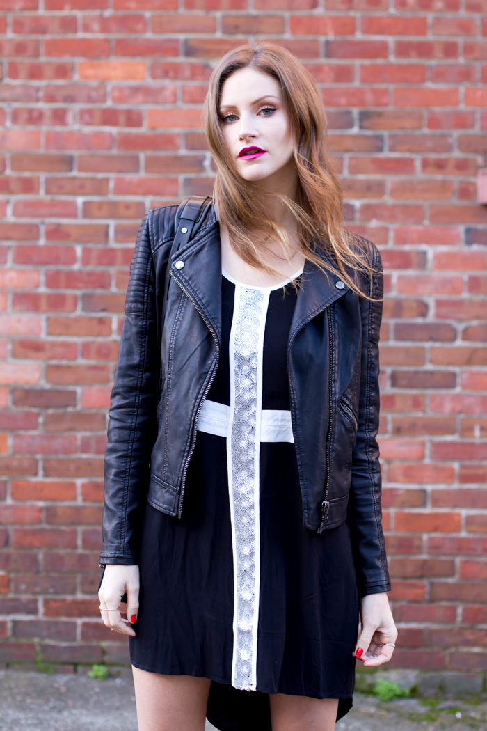 Vancouver Fashion Blogger, Alison Hutchinson is wearing a MinkPink dress, Topshop Leather jacket