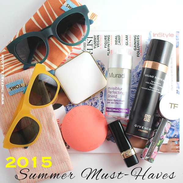 summer beauty must haves 2015, summer style must haves 2015, summer beauty trends, summer essentials, tom ford bronzing powder, guerlain bronzing powder, toms eyewear, murad invisiblur, dolce and gabbana matte lipstick