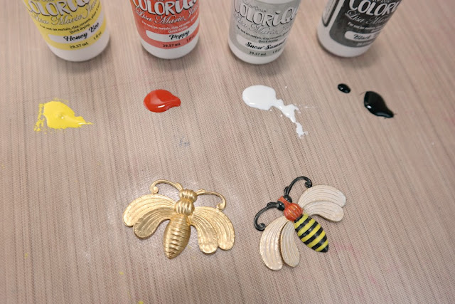 How to Paint a Raw Brass Bee with ColoriQue by Dana Tatar