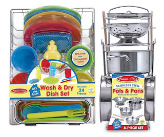 Not only does this kitchen play set include pots, pans and additional dishes, the wash and dry set comes with a dish rack, dish soap bottle and a sponge.
