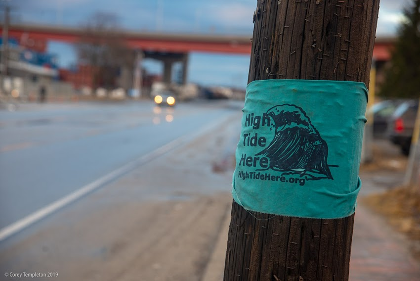 Portland, Maine USA March 2019 photo by Corey Templeton. One of the signs on Commercial Street by High Tide Here, an interesting project showing the impacts of rising sea levels on Portland and other parts of Maine.