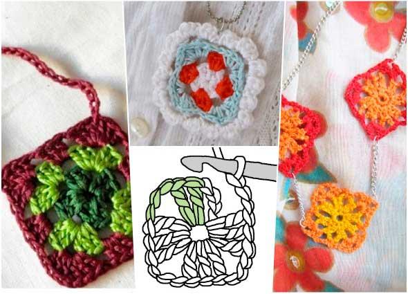 colgantes con grannys, bisutería cuadrados de la abuela, patrones para crochet